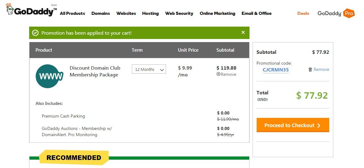 godaddy discount domain club